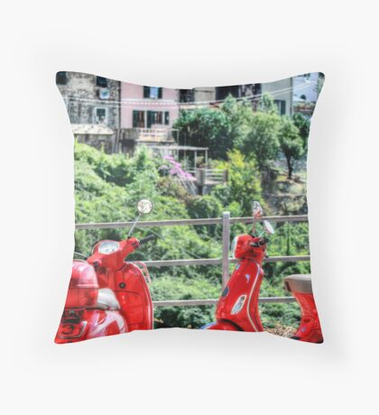 2 Red Scooters Throw Pillow