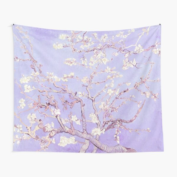 Japanese Woodcut New Lavender Almond Blossoms Starry 2 Individual Posters