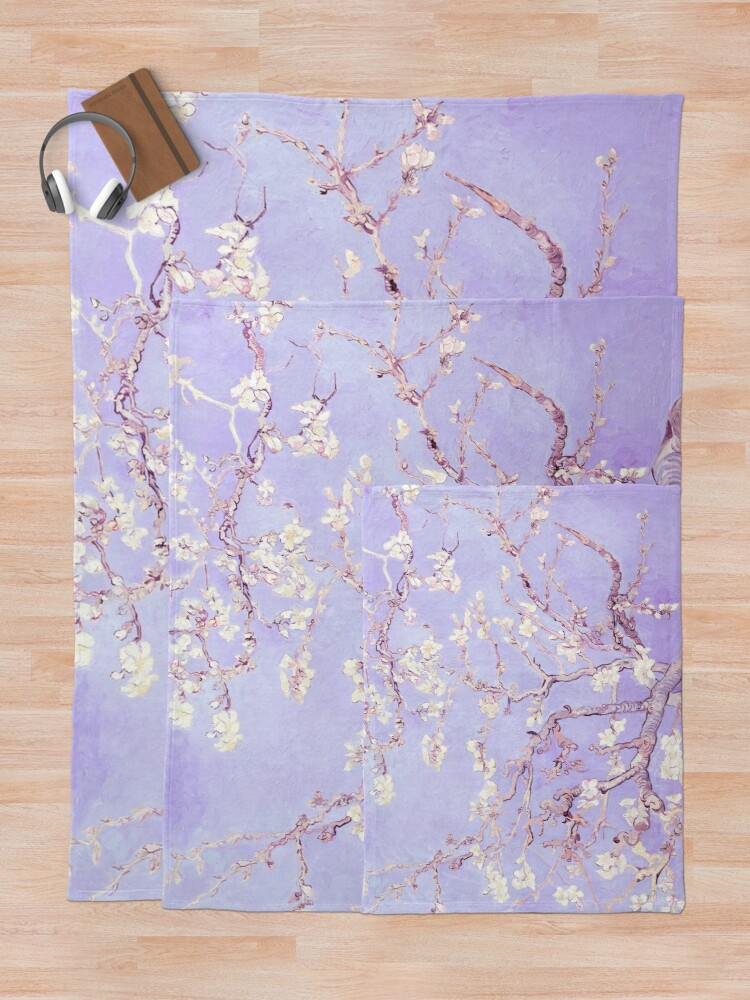 Alternate view of Vincent Van Gogh almond blossoms lavender Throw Blanket