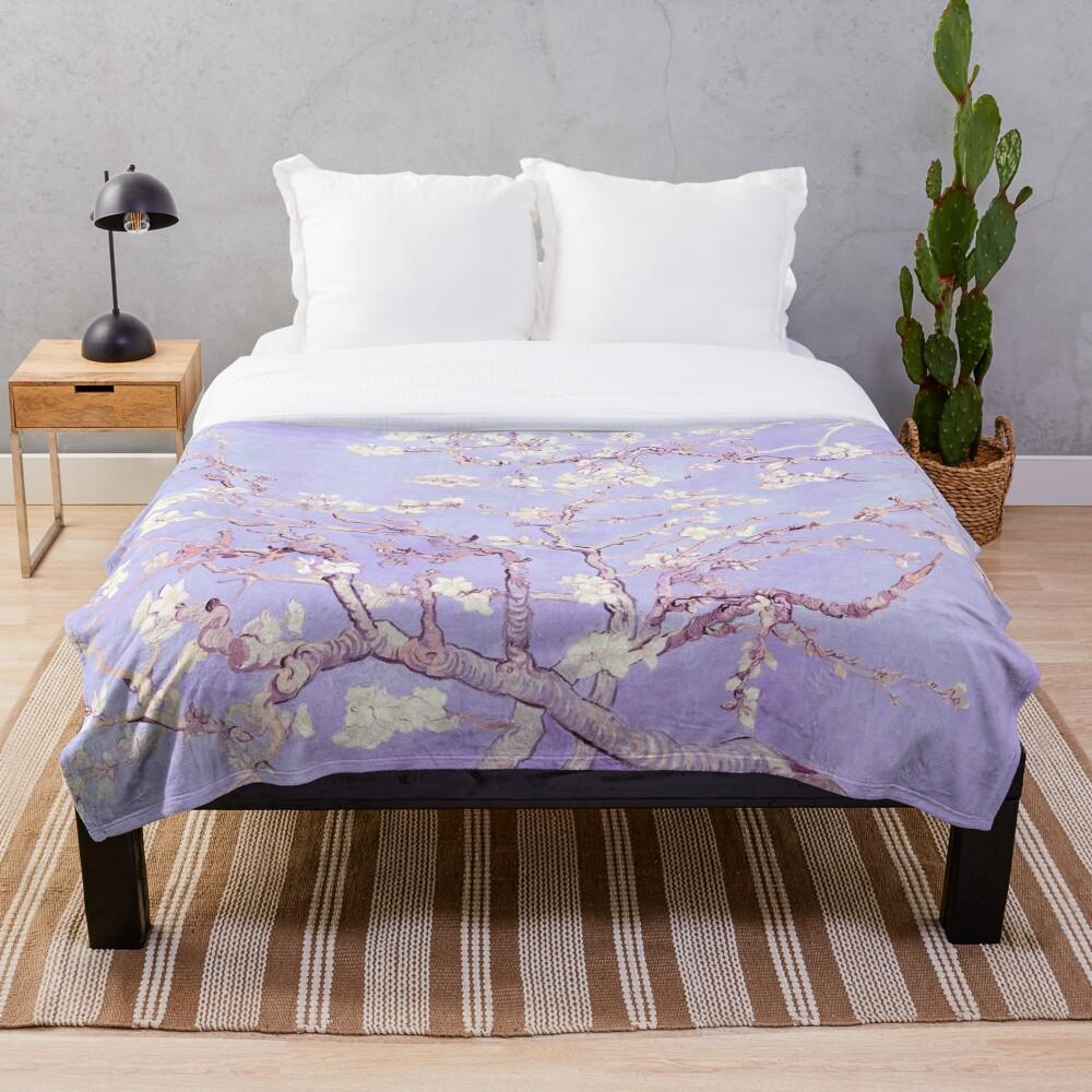 Vincent Van Gogh almond blossoms lavender Throw Blanket