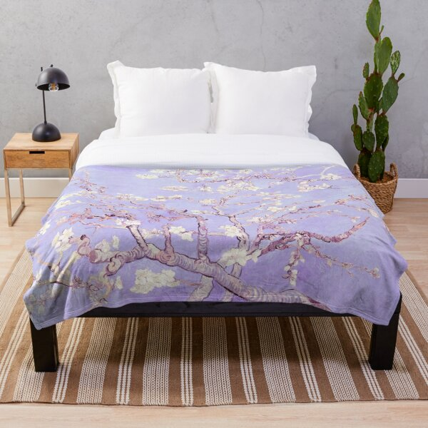 Vincent Van Gogh almond blossoms lavender Throw Blanket