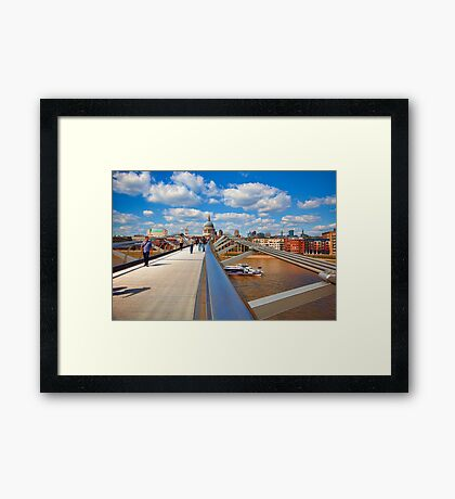 St Pauls Cathedral from Millennium Bridge London Framed Print