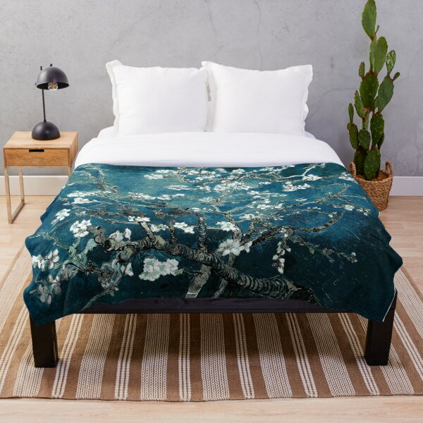 Van Gogh Almond Blossoms Dark Teal Throw Blanket