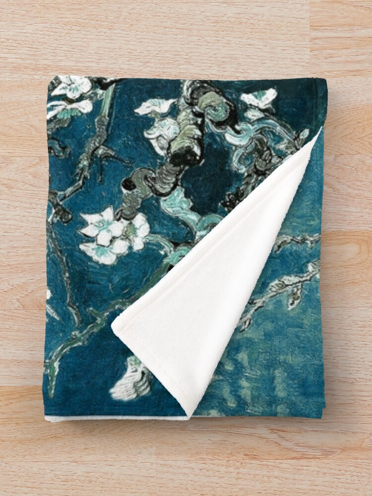 Alternate view of Van Gogh Almond Blossoms Dark Teal Throw Blanket