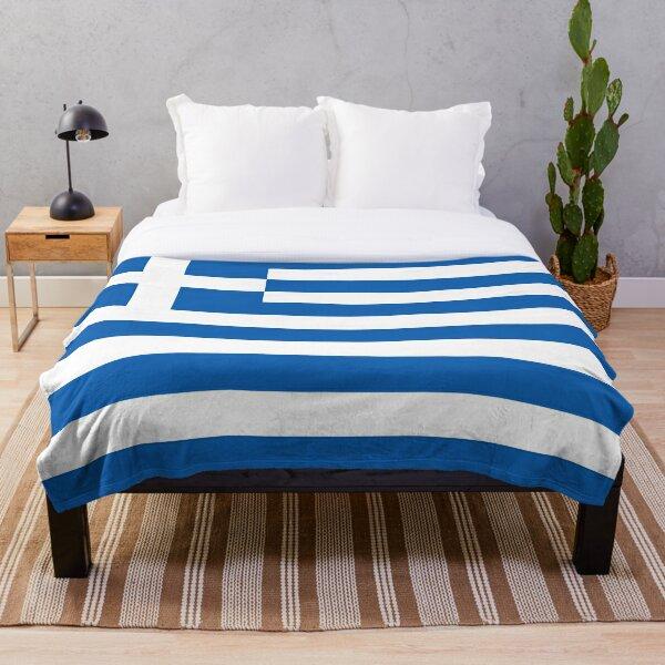 Greek Throw Blanket - Warm Winter Blanket with Flag of Greece Throw Blanket