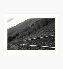 Railroad Tracks Down The Line Black and White Art Print