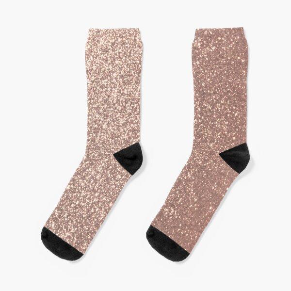 Pink Rose Gold Metallic Glitter Socks
