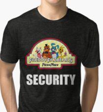 Five Nights at Freddy's - FNAF 2 -  Freddy Fazbear's Security Logo Tri-blend T-Shirt