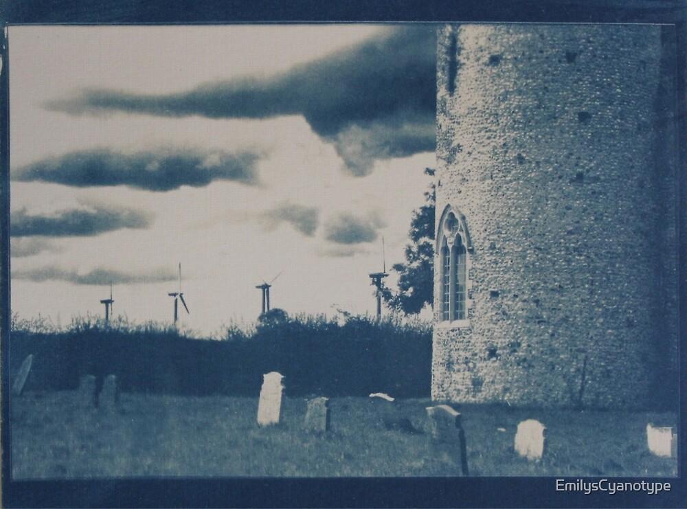 Cyanotype of Somerton Church & Wind Farm by EmilysCyanotype