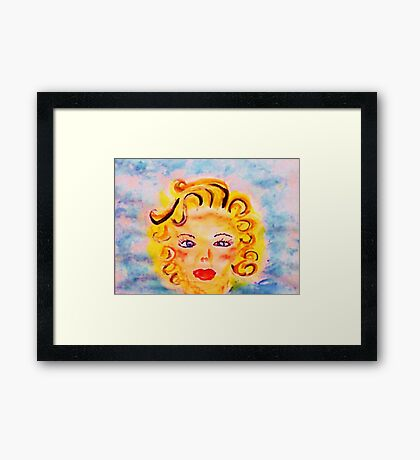 Portrait #4 blonde. watercolor Framed Print
