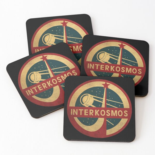 Vintage Interkosmos space program Sputnik Satellite Coasters (Set of 4)