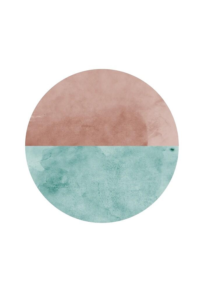Mid Century Modern Art Watercolor Circle by erhicodesign