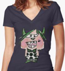 Funny Cartoon Monstar Monster 024 Women's Fitted V-Neck T-Shirt