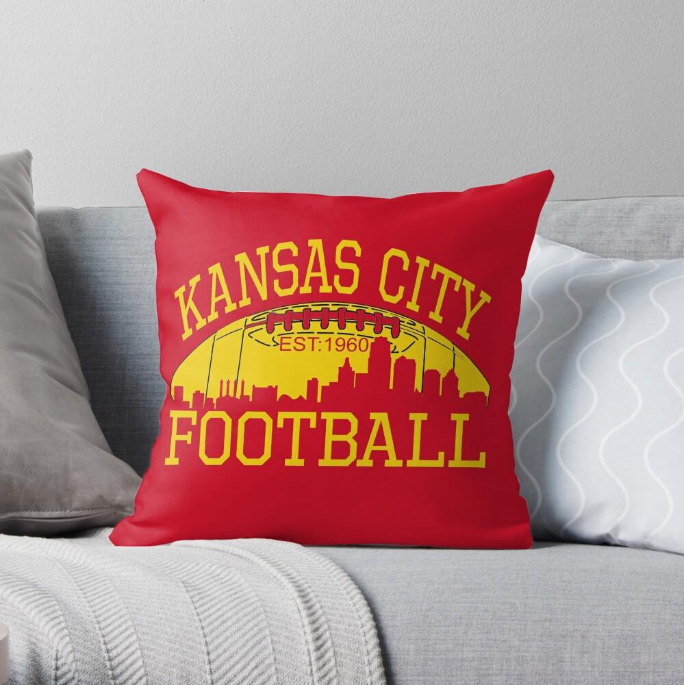Kansas City Football KC Fan Red & Yellow Kc Football Kingdom Throw Pillow