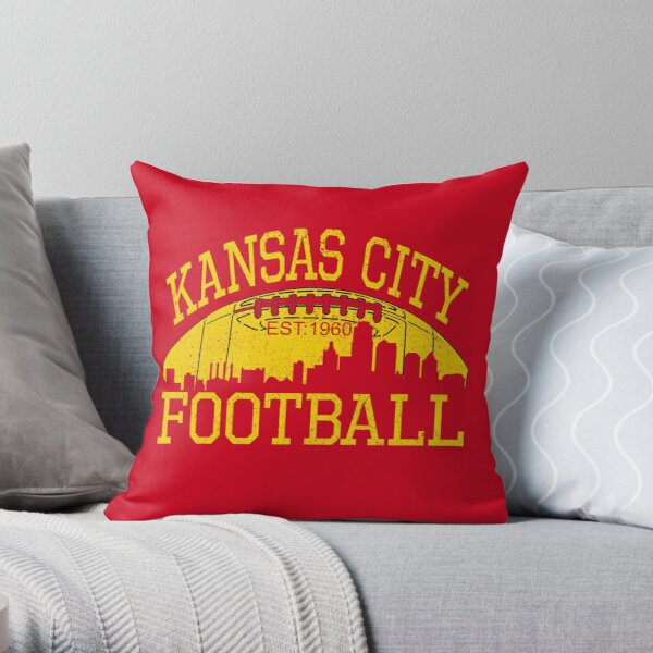Vintage Classic Kansas City Football KC Fan Red & Yellow Kc Football Kingdom Throw Pillow