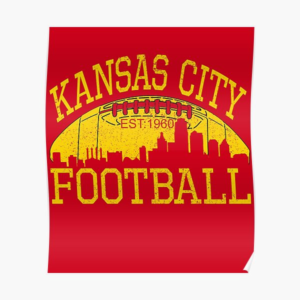 Vintage Classic Kansas City Football KC Fan Red & Yellow Kc Football Kingdom Poster