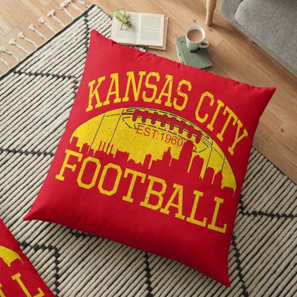 Vintage Classic Kansas City Football KC Fan Red & Yellow Kc Football Kingdom Floor Pillow