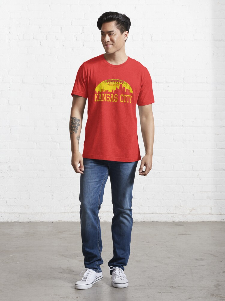 Alternate view of Red & Yellow KC Kansas City Football Essential T-Shirt