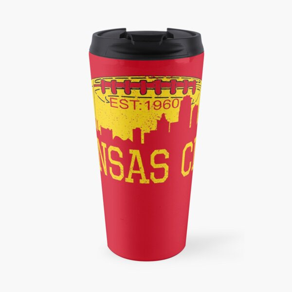 Classic Vintage Red & Yellow KC Kansas City Football Travel Mug