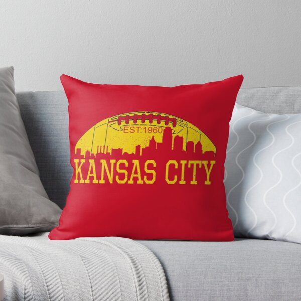 Classic Vintage Red & Yellow KC Kansas City Football Throw Pillow