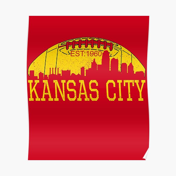 Classic Vintage Red & Yellow KC Kansas City Football Poster