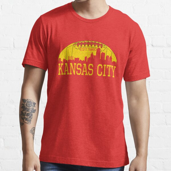 Classic Vintage Red & Yellow KC Kansas City Football Essential T-Shirt