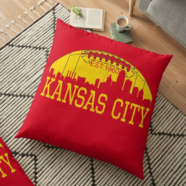 Classic Vintage Red & Yellow KC Kansas City Football Floor Pillow