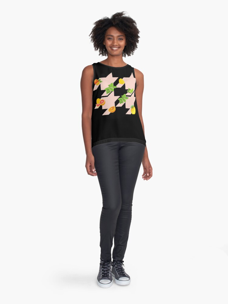 Alternate view of Houndstooth pattern with citruses Sleeveless Top