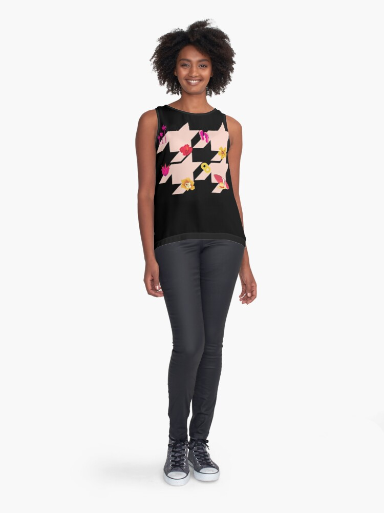Alternate view of Houndstooth pattern with Hawaiian symbols Sleeveless Top