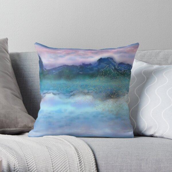 Bubbly Ink Mirror Mountain Throw Pillow