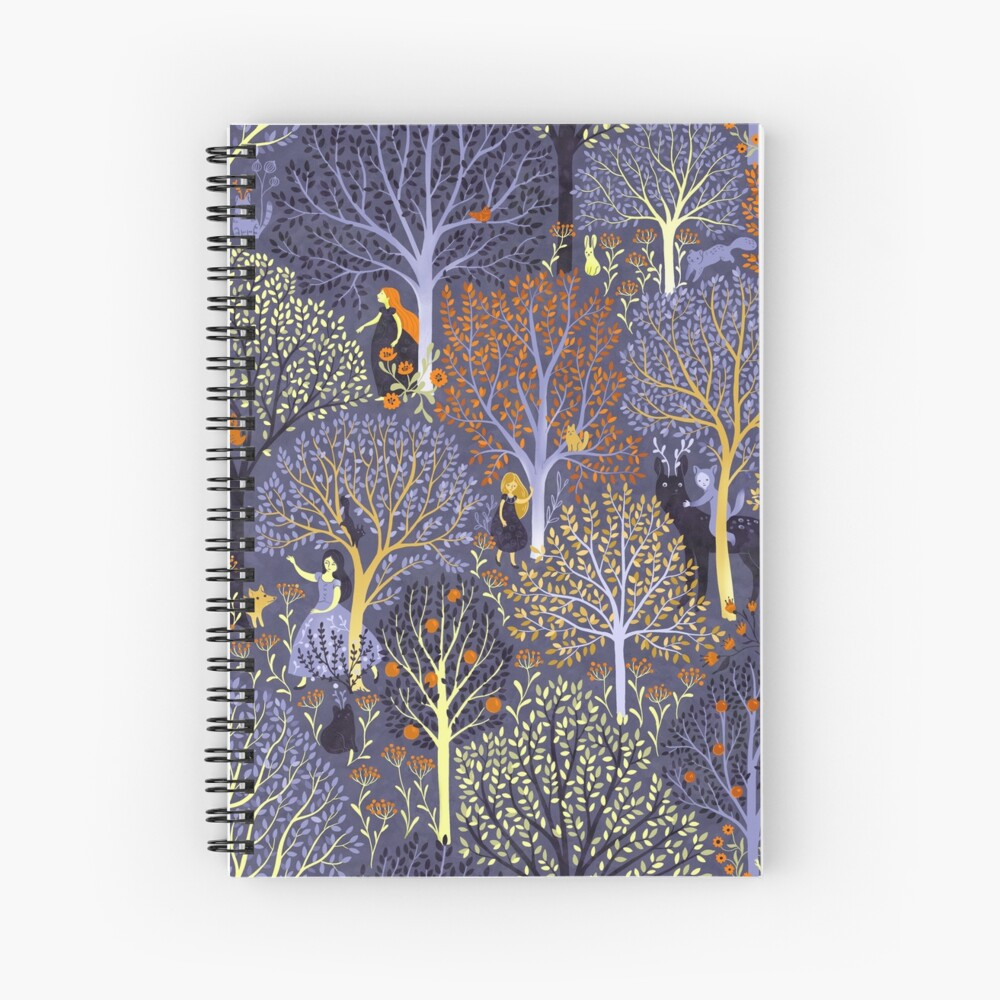 Magical Forest in blue Spiral Notebook