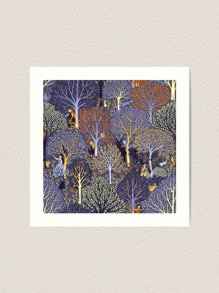 Alternate view of Magical Forest in blue Art Print