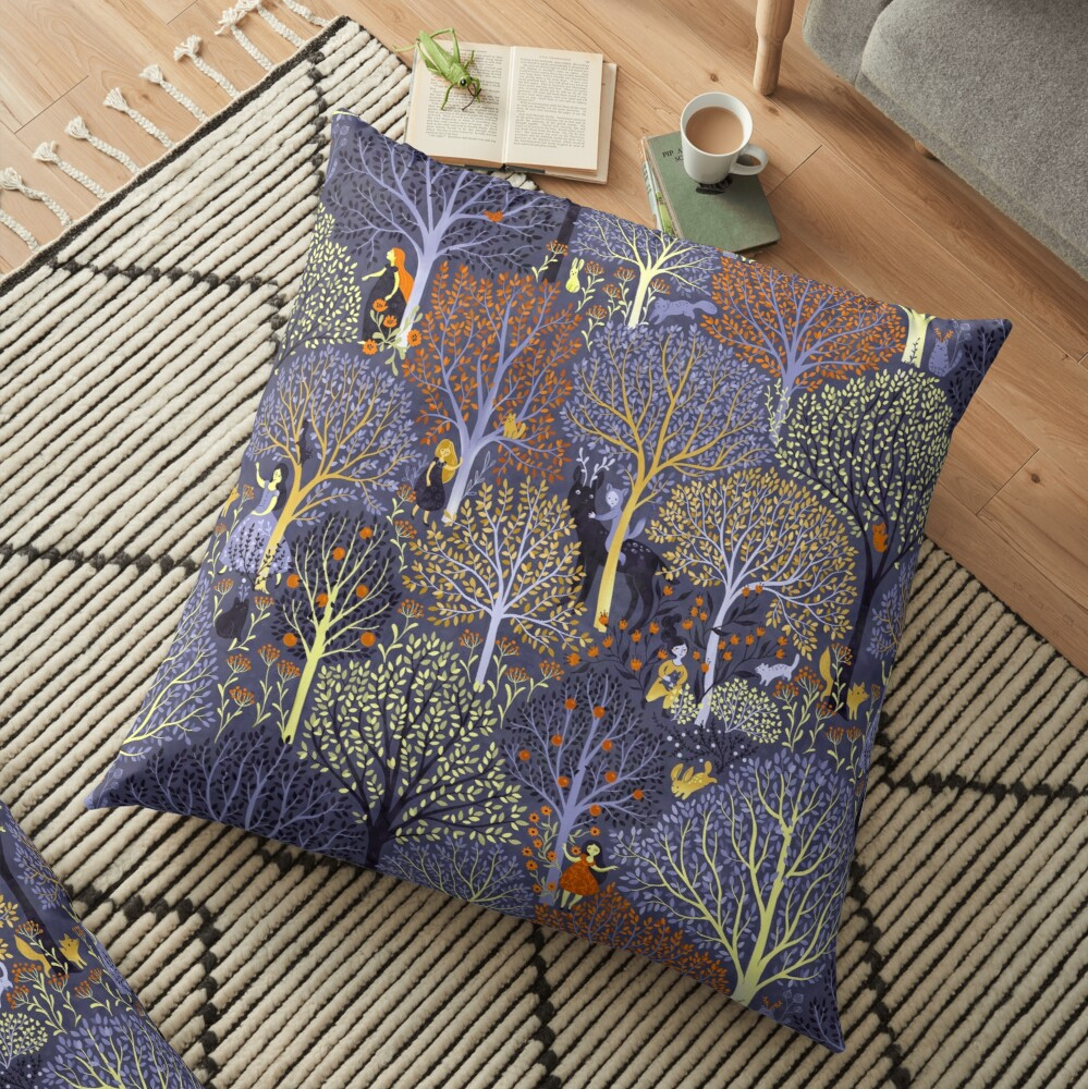 Magical Forest in blue Floor Pillow
