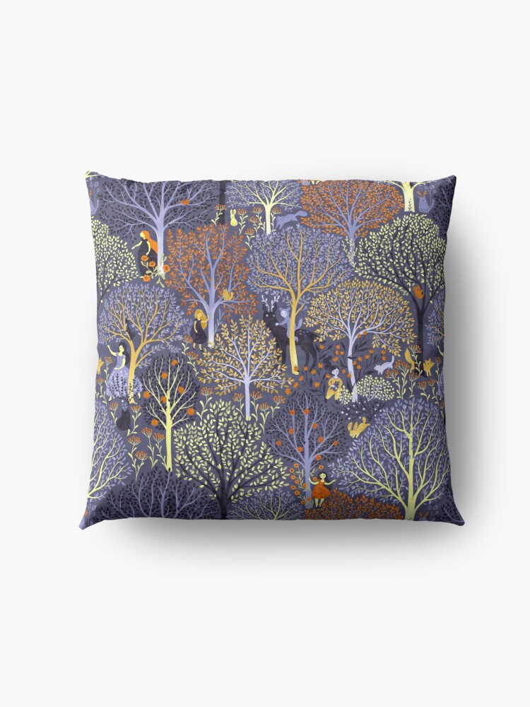 Alternate view of Magical Forest in blue Floor Pillow