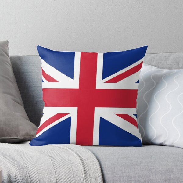 UK Union Jack ensign flag - Authentic version (Duvet, Print on Red background)  Throw Pillow