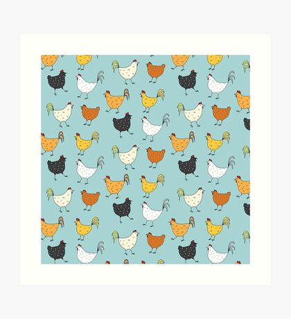 Chicken Pattern Art Print