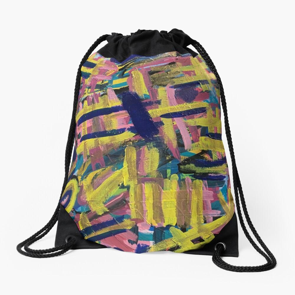 Chaos of Abstract Geometric Lines Drawstring Bag