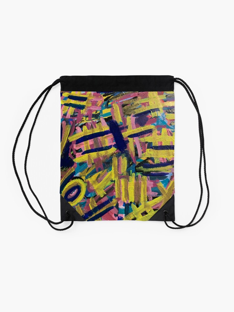 Alternate view of Chaos of Abstract Geometric Lines Drawstring Bag