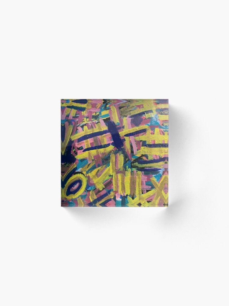 Alternate view of Chaos of Abstract Geometric Lines Acrylic Block