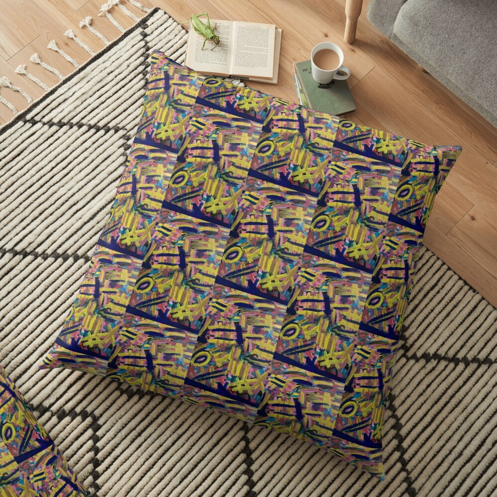Chaos of Abstract Geometric Lines Floor Pillow