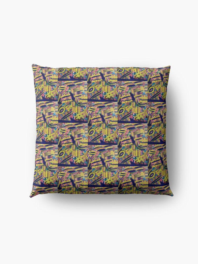 Alternate view of Chaos of Abstract Geometric Lines Floor Pillow