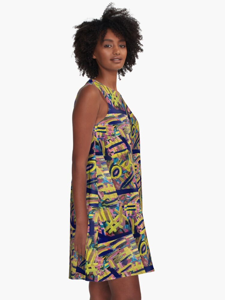 Alternate view of Chaos of Abstract Geometric Lines A-Line Dress
