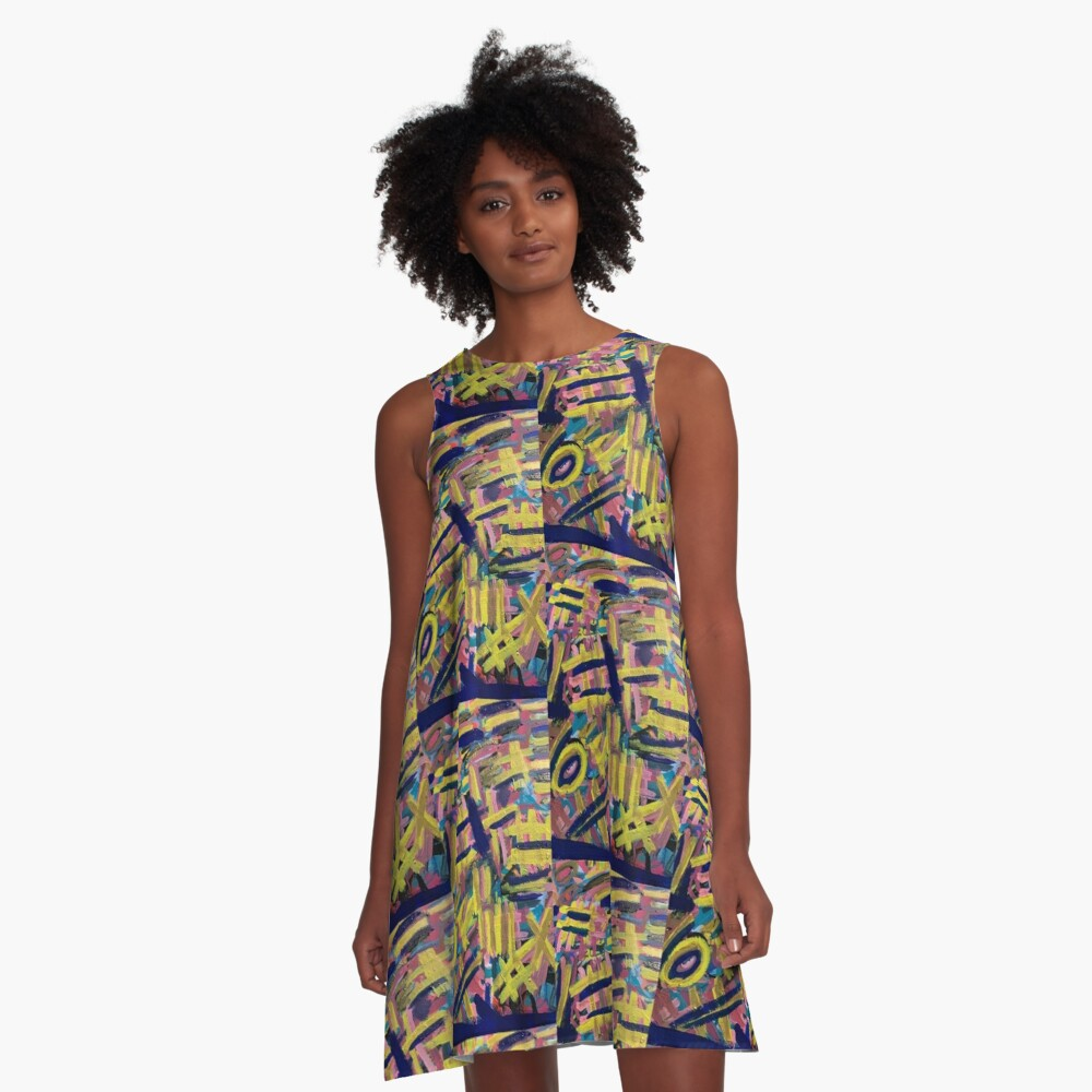 Chaos of Abstract Geometric Lines A-Line Dress
