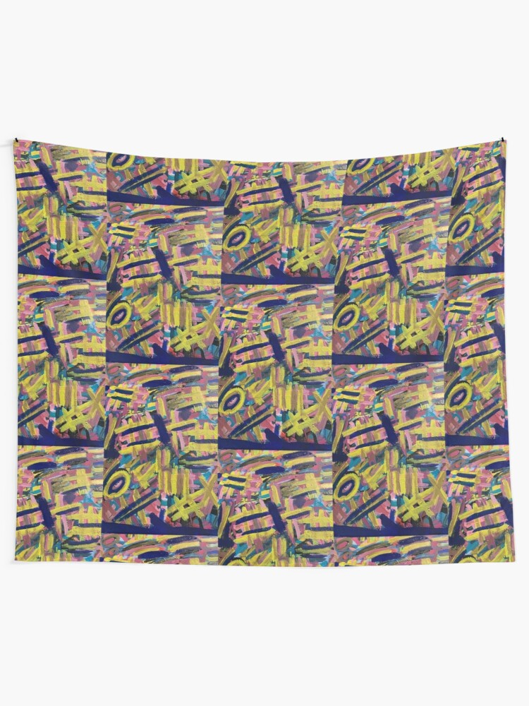 Alternate view of Chaos of Abstract Geometric Lines Tapestry