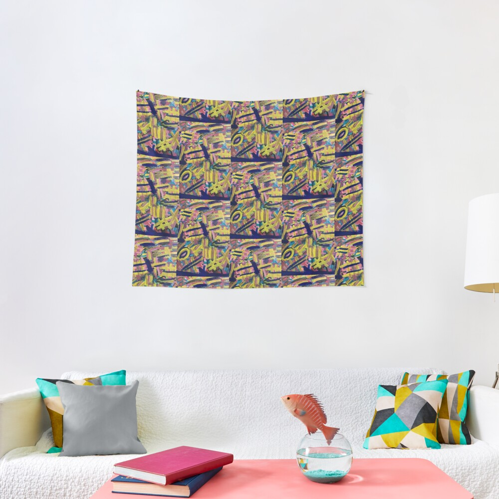 Chaos of Abstract Geometric Lines Tapestry