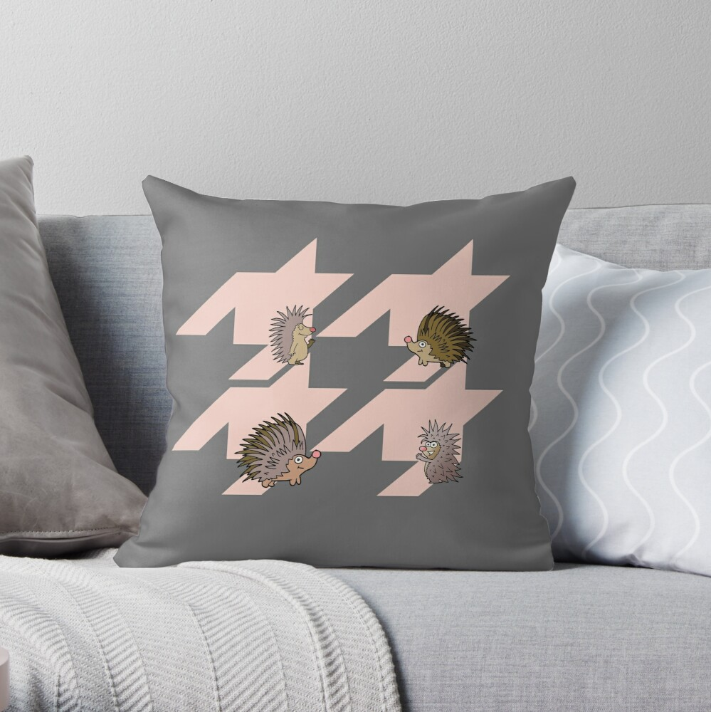 Houndstooth pattern with funny hedhehogs Throw Pillow