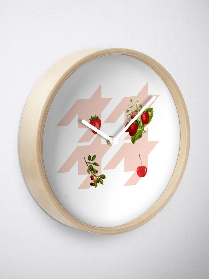 Alternate view of Houndstooth pattern with berries and cherries Clock