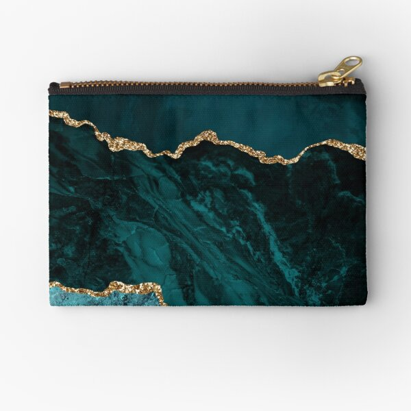 Amazing Blue and Teal Malachite Marble Zipper Pouch