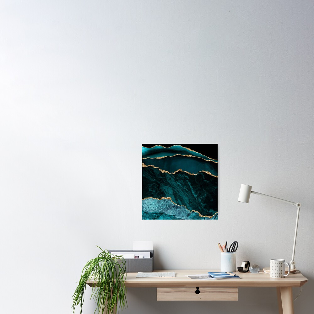Amazing Blue and Teal Malachite Marble Poster