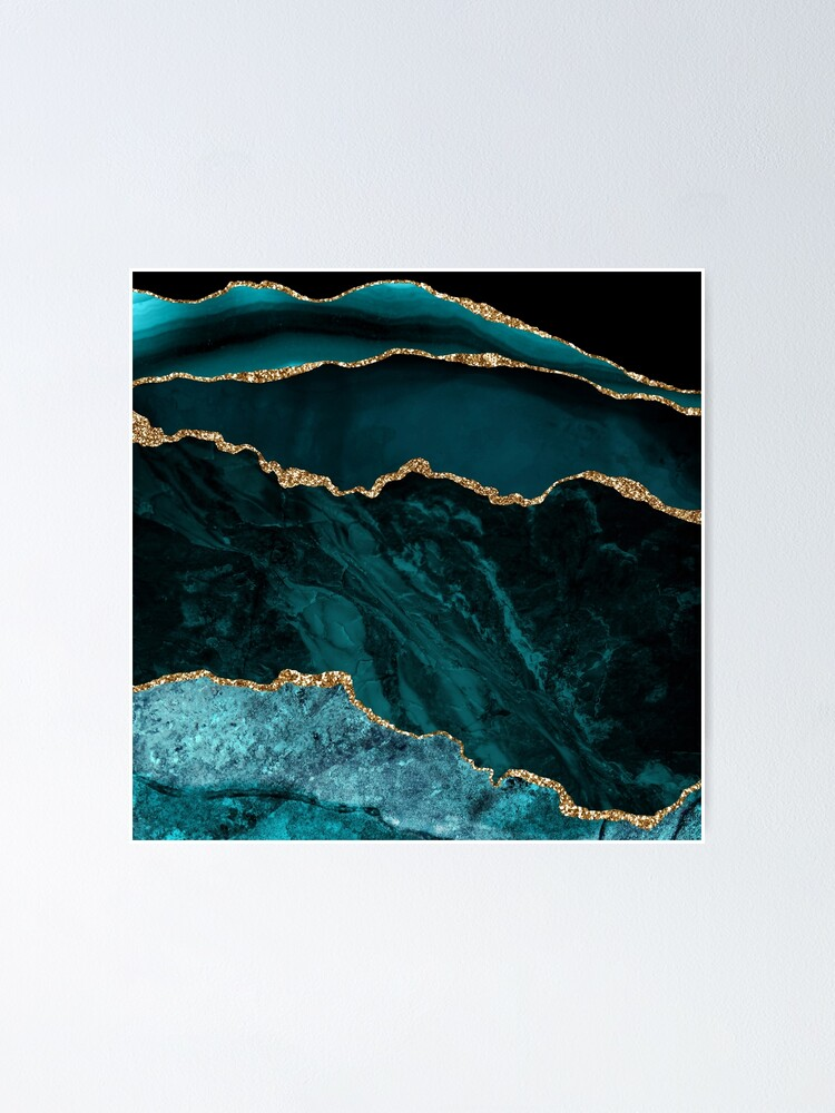 Alternate view of Amazing Blue and Teal Malachite Marble Poster
